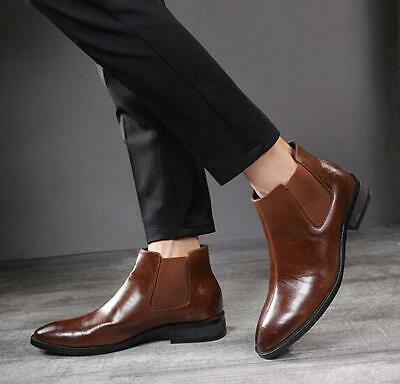 Mens Slip on Pointy Toe Business Wedding Formal Fur Inside Chelsea Boots Shoes