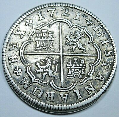 1721 AU Spanish Silver 2 Reales Real Antique Colonial Two Bit Colony Pirate Coin
