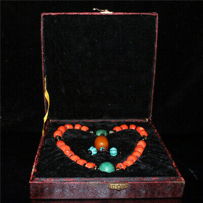 """8.66""""Exquisite Chinese Coral Turquoise Handmade Bead Bracelet And box a980"""