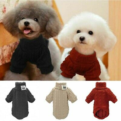 Knitted Dog Winter Knitwear Pet Sweater Chihuahua Puppy Jumper Red Black Clothes