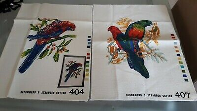 A Pair Of Vintage Parrot Tapestries Plus Instructions And Color Bar