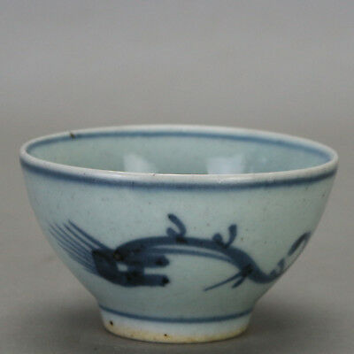 Chinese old hand-carved porcelain Blue & white ssangyong Kung fu tea cups