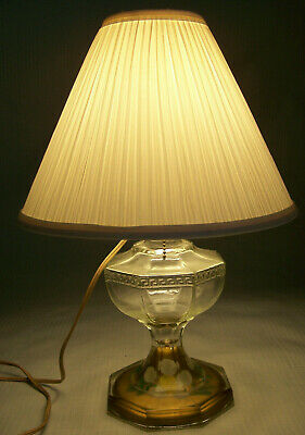 Antique converted Oil Lamp clear glass reverse painted base undamaged, working
