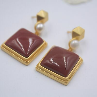 Real S925 Silver Earrings Women's Square Red Agate Pearl Gold Stud Earrings30mm