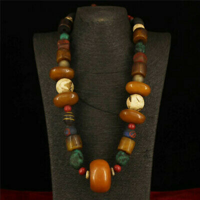 Collection old Tibet Tibetan style Beeswax Multi-treasure Necklace a1096