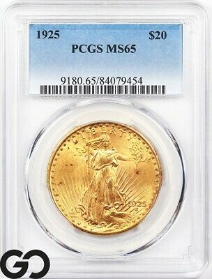 1925 MS65 Gold Double Eagle, $20 Gold St Gaudens PCGS Mint State 65