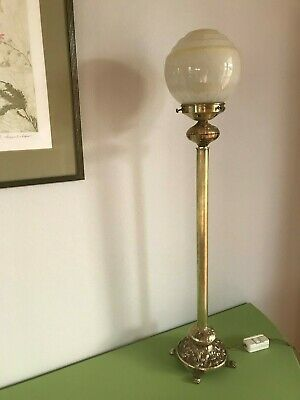 Antique Solid Brass Table Lamp ~ Art Deco Shade ~ Beautiful!