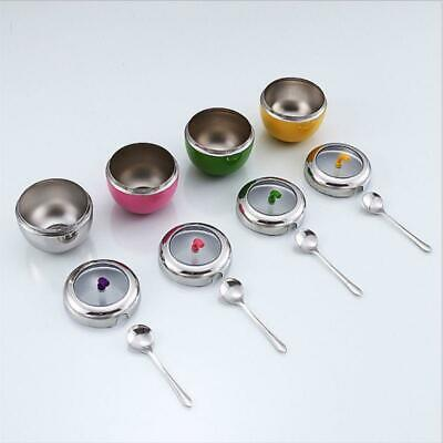 1x Kitchen Stainless Steel Canister Spice Jar Sugar Salt Bowl With Lid Spoon Set