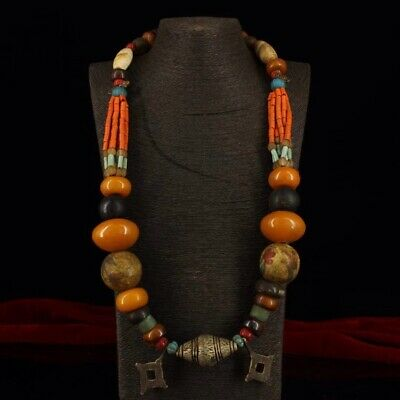 Chinese Antique Tibetan style beeswax multi-treasure necklace h1106