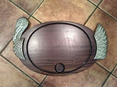 Wooden / Metal Turkey  Carving /serving Platter Cutting board - French 58cm long