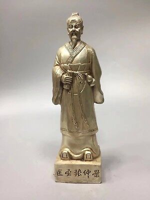 Chinese Antique White copper carving god doctor Zhang Zhongjing  Statues h1159