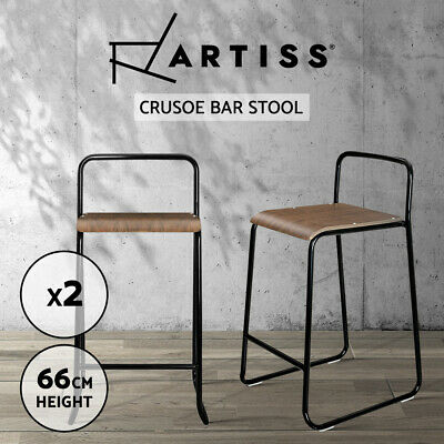 Artiss 2x Industrial Rustic Bar stools Vintage Bar Stool Wooden Chairs Kitchen