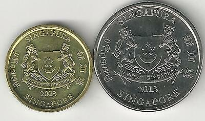 2 DIFFERENT COINS from SINGAPORE - 5 & 20 CENTS (BOTH DATING 2013)