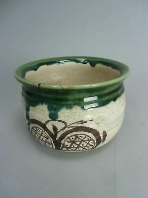 Japanese Oribe Tea Ceremony Bowl Kensui Slop Basin Wastewater Pot Pottery TG777