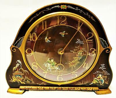 STUNNING Antique CHINESE Lacquer MANTEL CLOCK 8 Day MECHANICAL Chinoiserie SCENE