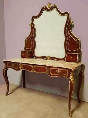 Solid Mahogany Marble French Rococo Antique Louis Style Secretary Dressing Table