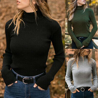 Ribbed Sweater Tops Blouse Turtleneck Knit Casual Womens Slim Long Sleeve Winter