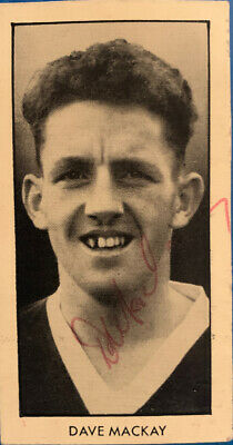 Signed 1950s Dave Mackay Tottenham Hotspur FC Spurs World Cup Footballers Card