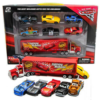 7pc Cars 2 Lightning McQueen Racer Car&Mack Truck Toy Collection Set  Kids Gifts