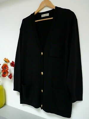 Gorgeous M&S Black Pure Lambswool Knit Hip Length V Neck Cardigan Size 16/18,Vgc