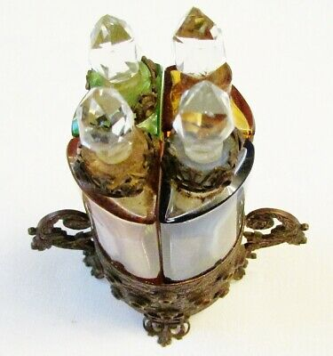 Rare Antique French Boudoir Glass Perfume Scent Bottles In Ornate Bronze Etui