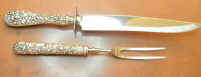 """Kirk - Stieff Repousse Rose Sterling 11"""" Knife Carving Set  No Mono"""