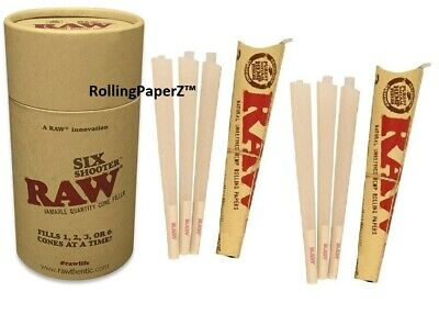RAW Six Shooter Cone Filler + 12 FREE Pre Rolled Ready to Fill 1 1/4 Size Cones