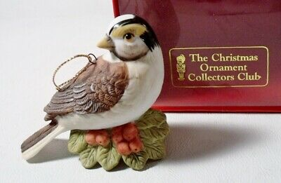 Christmas Ornament Collecto's Club WHITE THROATED SPARROW Mint in Box BIRD