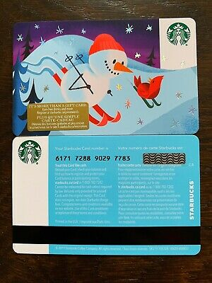 """Canada Series Starbucks """"SNOWMAN 2019"""" Gift Card WITH BLACK MAG STRIPE - New"""