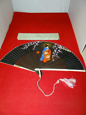 Gorgeous Antique Hand Painted Japanese Silk Fabric & Wood Accordian Fan In Box!