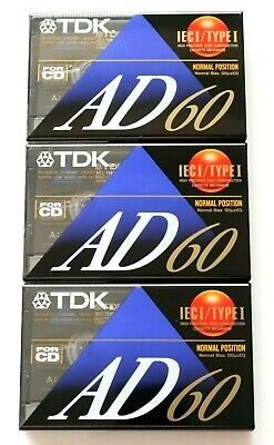 3 X Tdk Ad 60 Premium Normal Position Type I Blank Audio Cassette Tapes