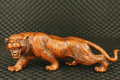 unique china old boxwood handmade anger tiger statue collectable home decorate