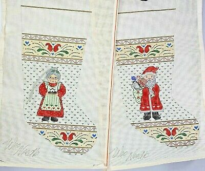Hand Painted WEE NEEDLE Santa and Mrs. Claus Stocking Canvases with Yarn