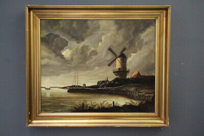 Impressive large oil painting antique windmill sailing boats landscape 19th cent