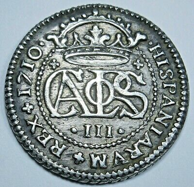 1710 AU-BU Spanish Silver 2 Reales Real Old Antique Two Bit Colonial Pirate Coin