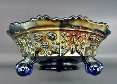 """Fenton BUTTERFLY & BERRY Blue Carnival Glass Footed 5¼"""" Berry Bowl 6591"""