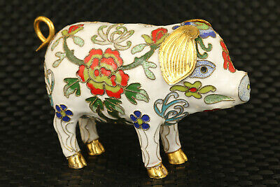 chinese noble old cloisonne hand painting fortune pig statue table decoration
