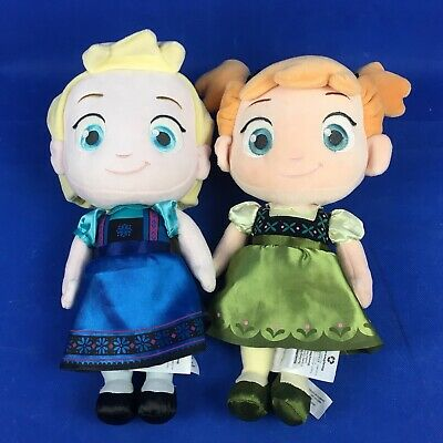 Elsa and Anna From Frozen Disney Store Soft Toy Dolls Approx 30 cm Tall