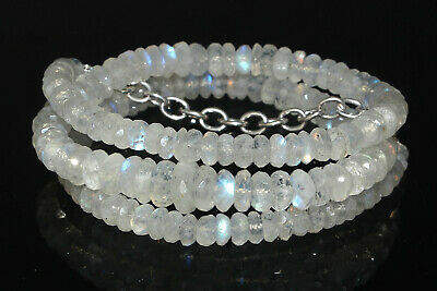 AA+ Quality Natural White Rainbow Moonstone Gemstone Faceted Beads 4 To 10MM 18'