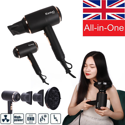 Black Hot Professional Style 4000W Hair Dryer Diffuser & Nozzle Salon Styler L86