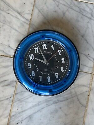 """Sterling and Noble 11/"""" Vibrant Blue Neon Analog Wall Clock"""