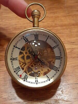 Vtg Working Large Brass Pocket Watch Style Clock Glass Magnifying Made in India