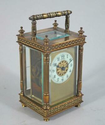 TOP QUALITY ORNATE ANTIQUE CARRIAGE CLOCK with MASKED DIAL FLUTED COLUMNS & KEY