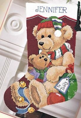 Dimensions Gift for Teddy Bear Christmas Holiday Needlepoint Stocking Kit 9130