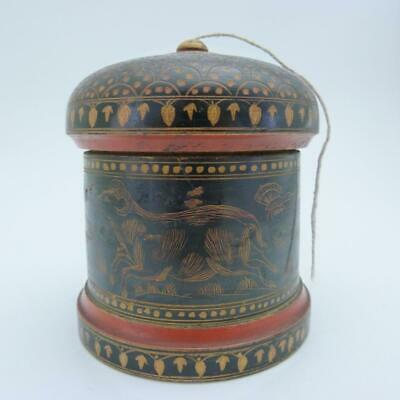 19th CENTURY BURMESE LACQUERED WOOD STRING BOX