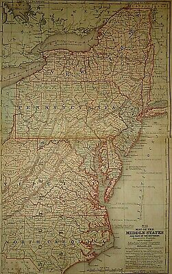 Vintage 1859 CENTRAL ATLANTIC STATES VA NC NY PA NJ MAP Old Antique Original