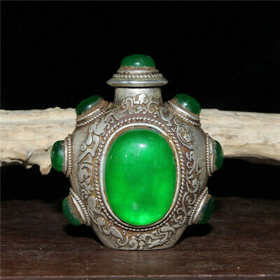 """2.17""""Exquisite Chinese White copper Handmade inlay Emerald Snuff bottle h1396"""