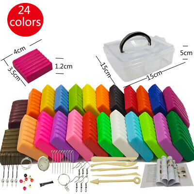 24 Colors Polymer Clay with 5 Modeling Tools Oven Bake Safe and Nontoxic