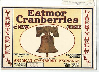 Vintage 1930s Eatmor New Jersey Monmouth Cranberries Fruit Crate Label N.O.S.
