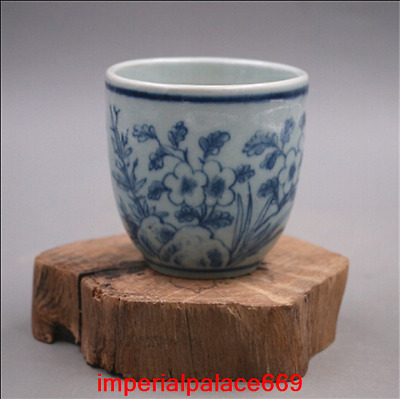 China Ming Dynasty Wanli Year Blue and white Flower pattern cup h1650